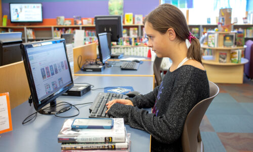 We have four computers with internet access. Written permission from a parent or legal guardian is required for all internet users ages seventeen and under. A parent or responsible adult must accompany all internet users ages eight and under.